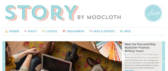 Branded light-blue ecommerce website design for ModCloth's blog