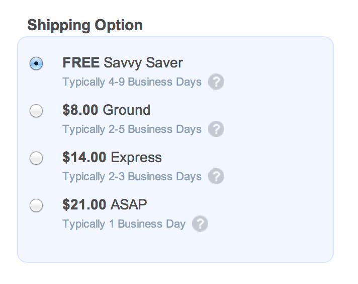 ecommerce shipping information example