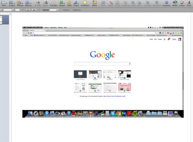 Screenshot of Google homepage pasted in Apple Keynote