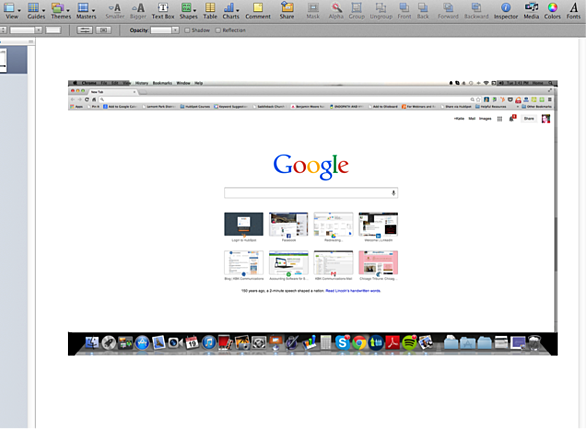 Screenshot of Google homepage pasted in Apple Keynote