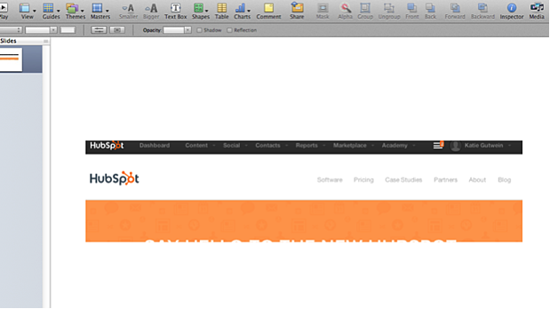 Screenshot of part of HubSpot's homepage, pasted into Apple Keynote