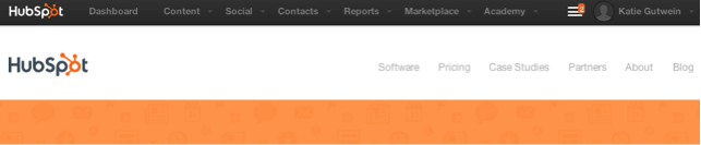Screenshot of part of HubSpot's homepage, taken on a Mac