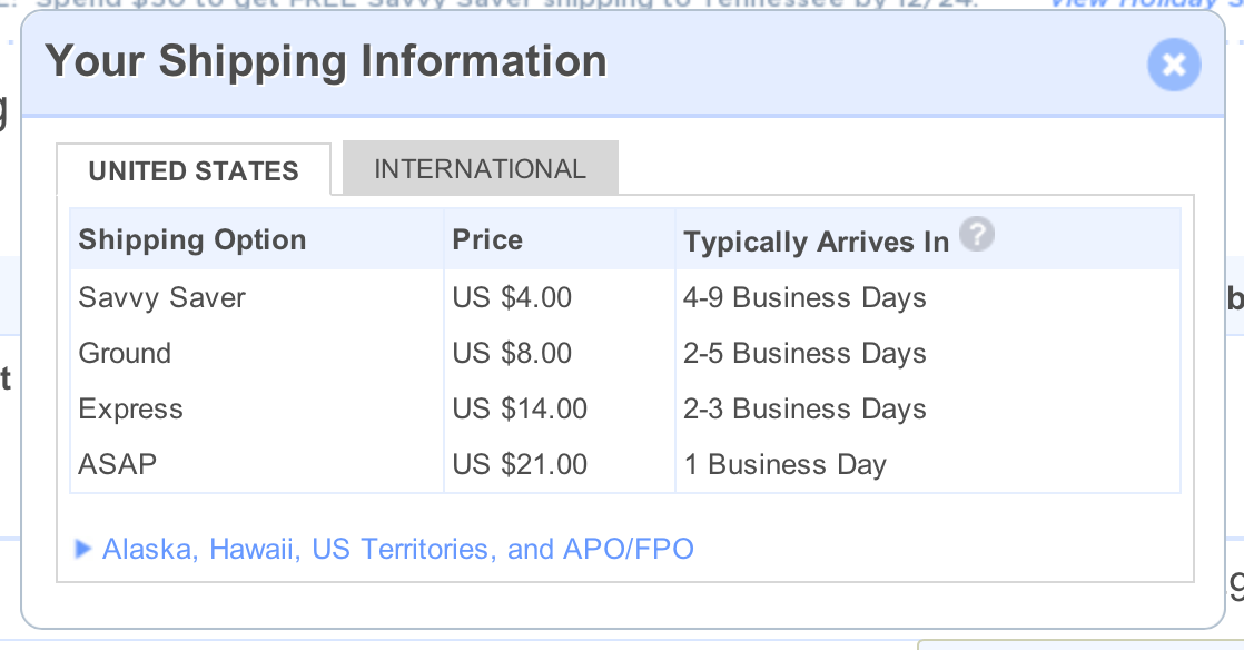 flat rate shipping example