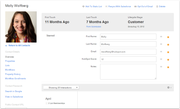 contact overview page