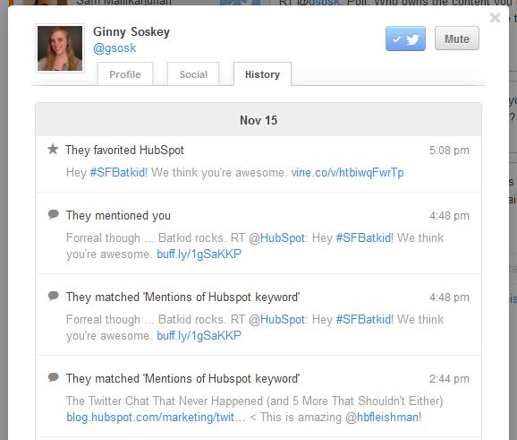 Social history in Social Inbox