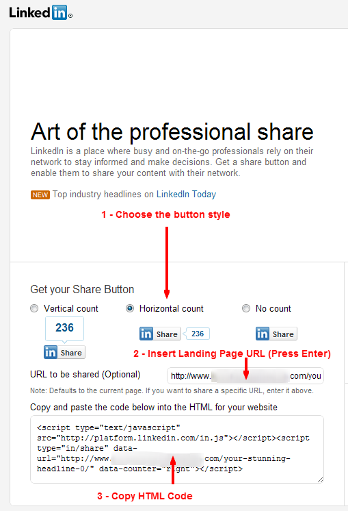 How to insert a LinkedIn Share button on a HubSpot page
