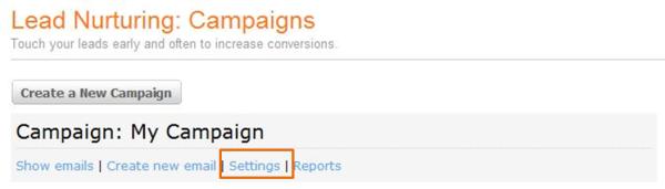 Lead Nurturing Campaign Screen