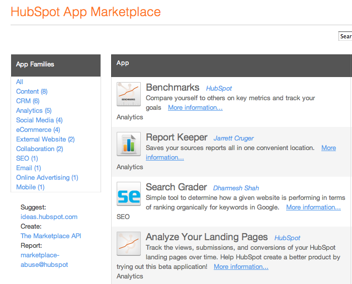 New App Family Categories in the App Marketplace