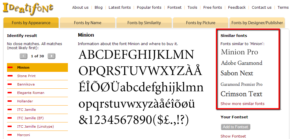 identifont_results_minion_similar_fonts