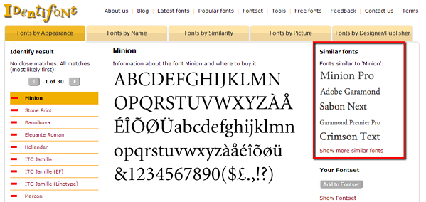identifont_results_minion_similar_fonts