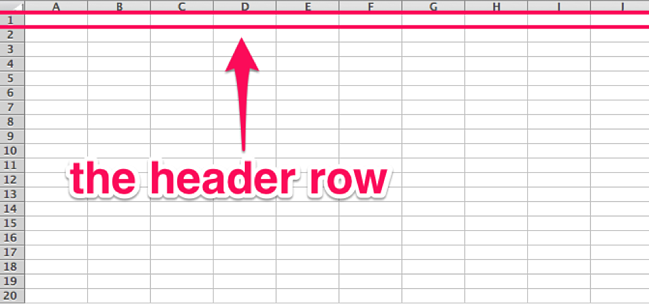 Header row in an Excel spreasheet
