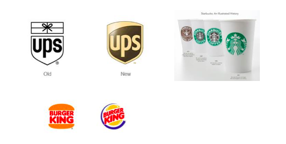 before and after logo versions for ups, burger king, and starbucks