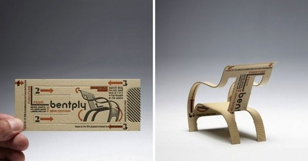 10 inspired business card designs too useful to throw away uk based ecommerce home furnishings shop bentply lets you turn their business card into a little chair with just a few flicks and folds colourmoves Images