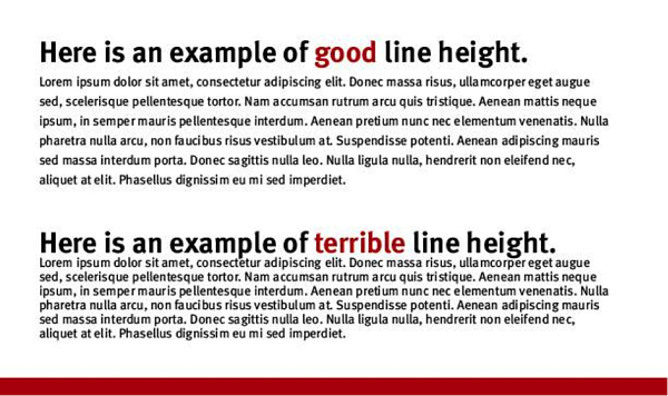 example of good line height vs terrible line height