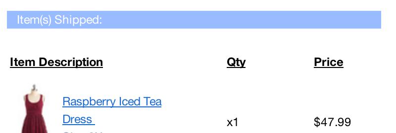 order summary example