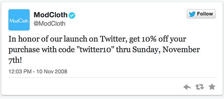 modcloth first tweet