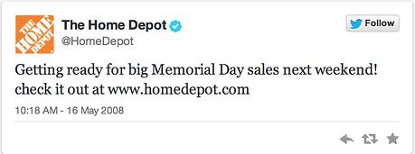 home depot first tweet