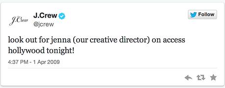j. crew first tweet
