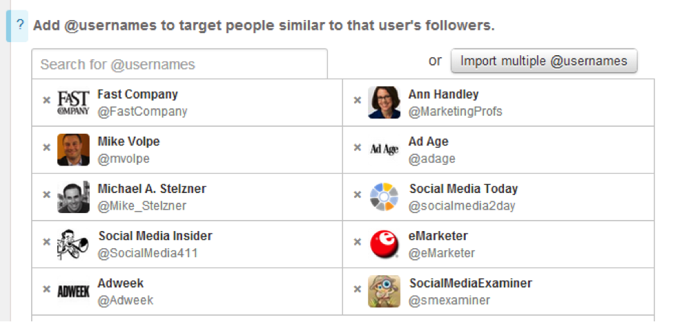 Targeting by interests and followers