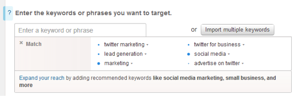Targeting by keywords