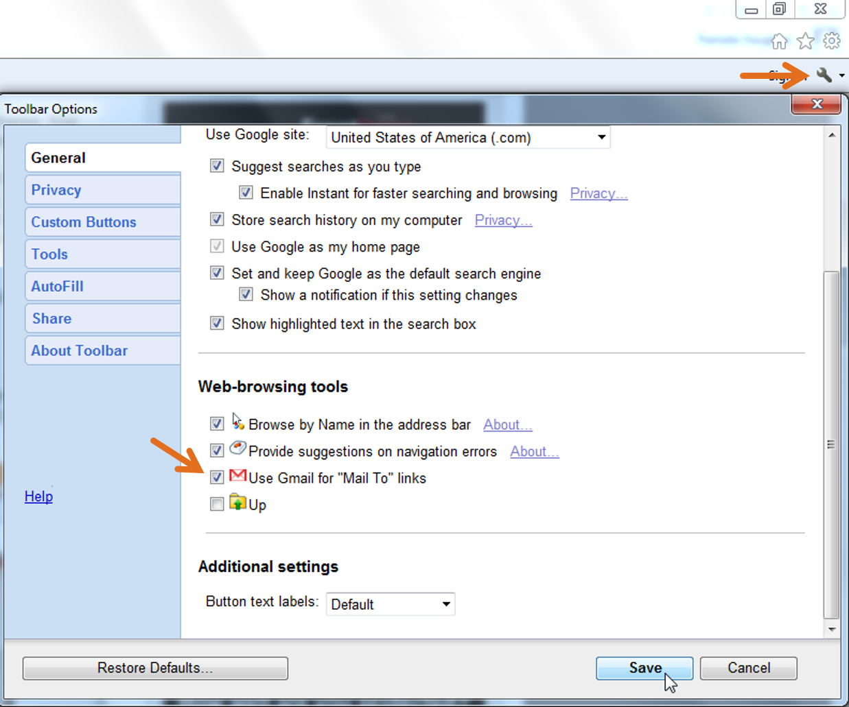 Toolbar options screen to make Gmail default email client for Mail To links in Internet Explorer