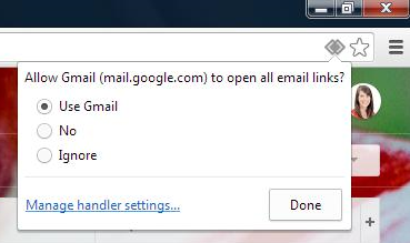 Google Chrome prompt to change mail handler
