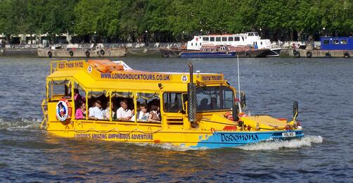 Yellow Duck Tour boat on the water