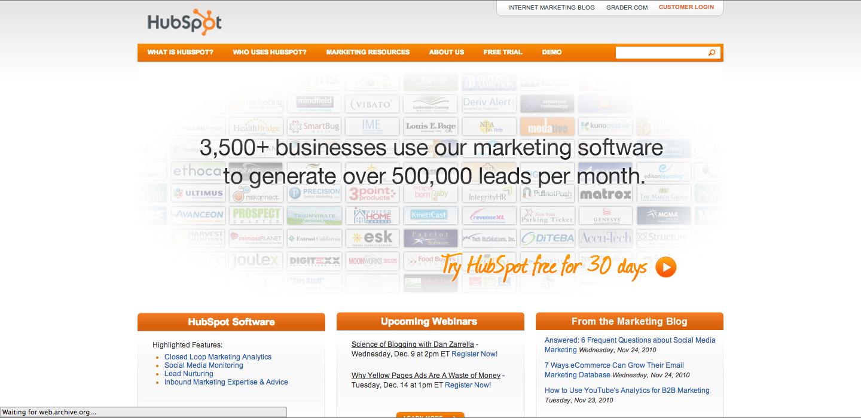 HubSpot_Homepage_2010