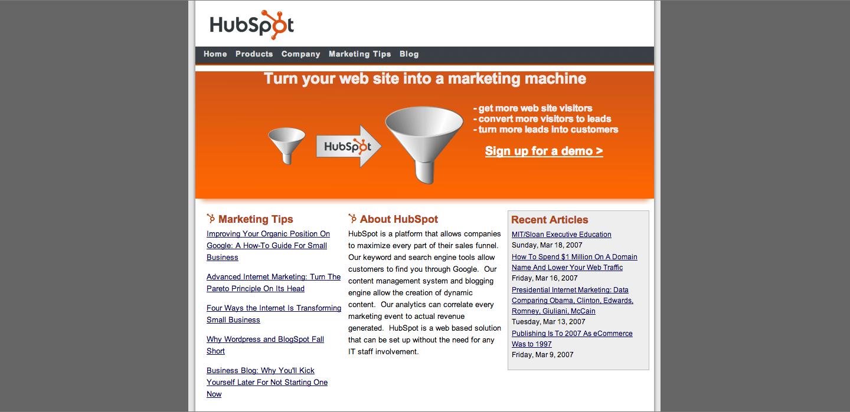 HubSpot_Homepage_2007