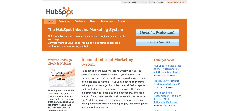 HubSpot_Homepage_2008