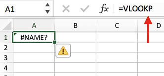 #NAME? Excel error message created from =VLOOKUP formula