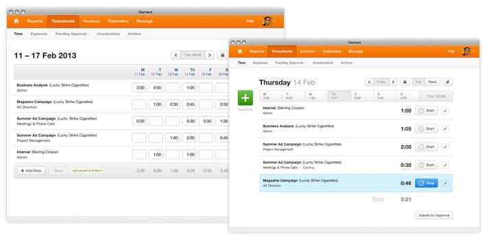 Harvest time tracking timesheet