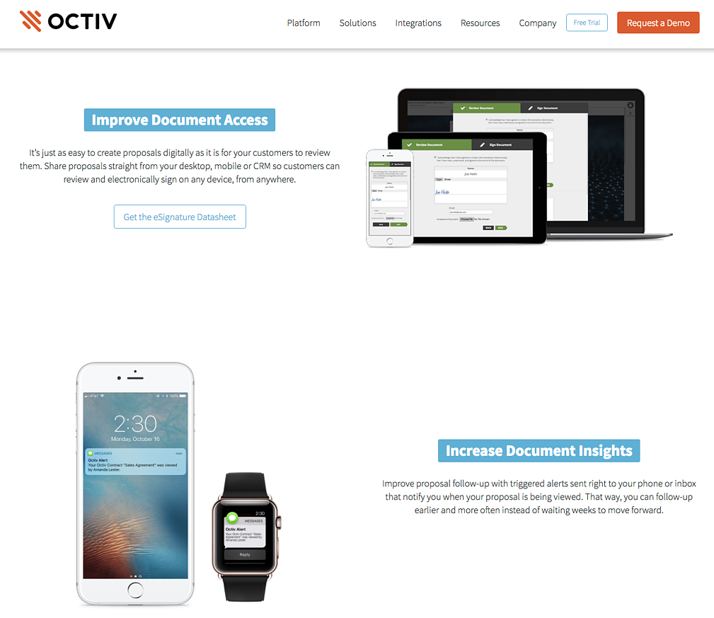 Octive proposal software homepage