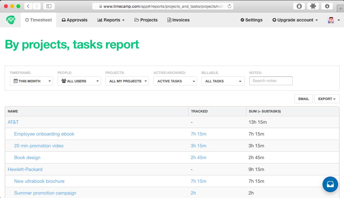 TimeCamp time tracking timesheet