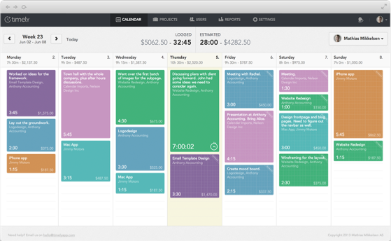 Timely time tracking calendar