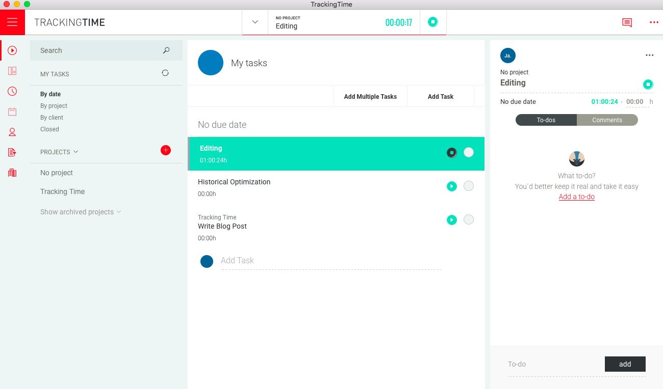 TrackingTime time tracking dashboard