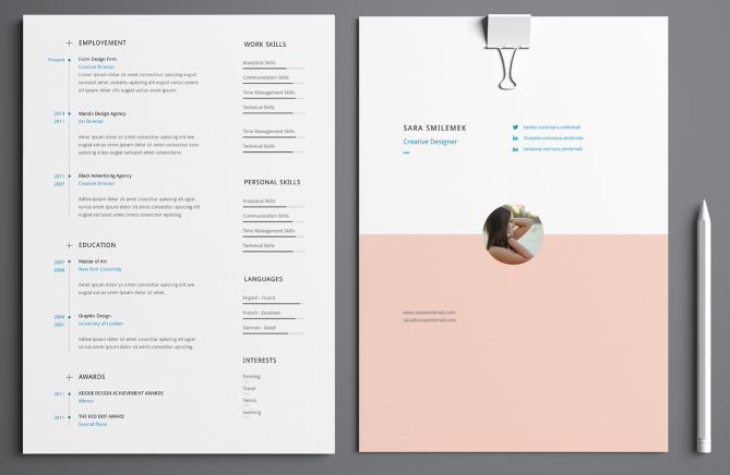 Best Two Page Resume Template With Cover Page