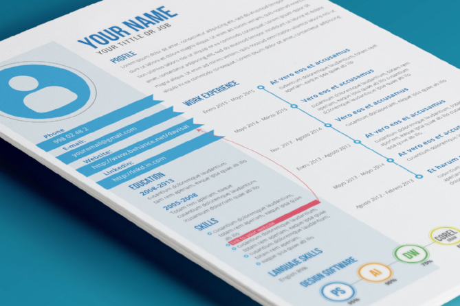 Colorful resume template with blue primary font color