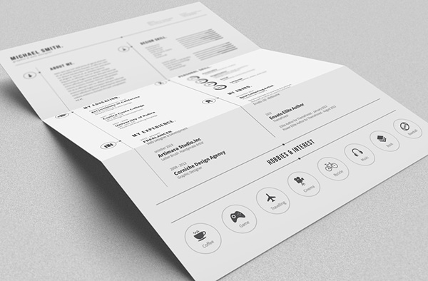 Black and white resume template