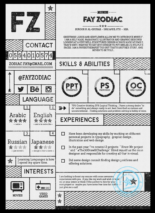 Attractive Typography Resume Template For Illustrators And Graphic Designers