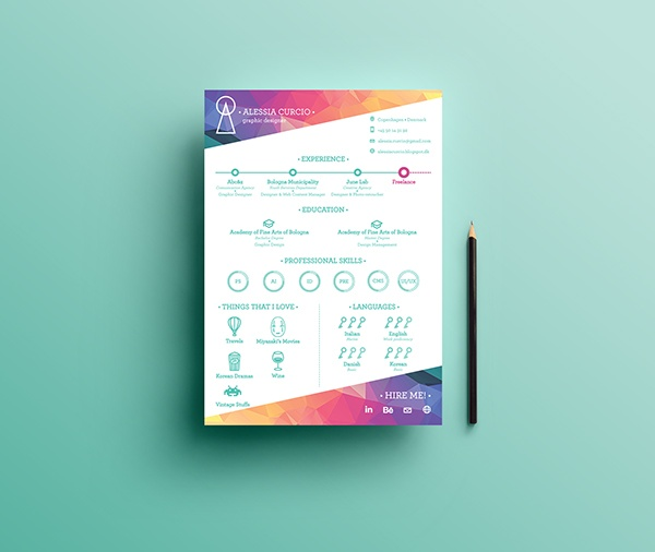 Resume Template With Colorful Header And Footer