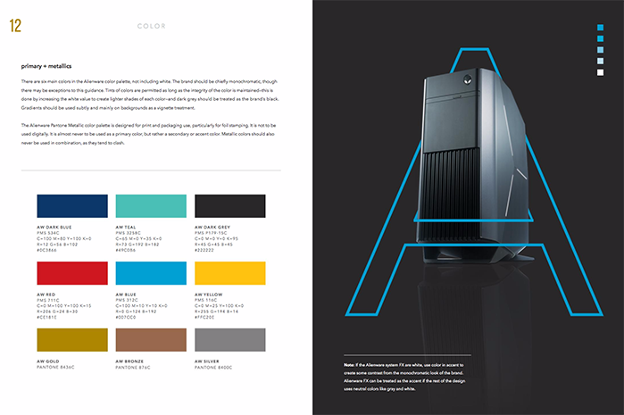 Brand style guide and color palette for Alienware