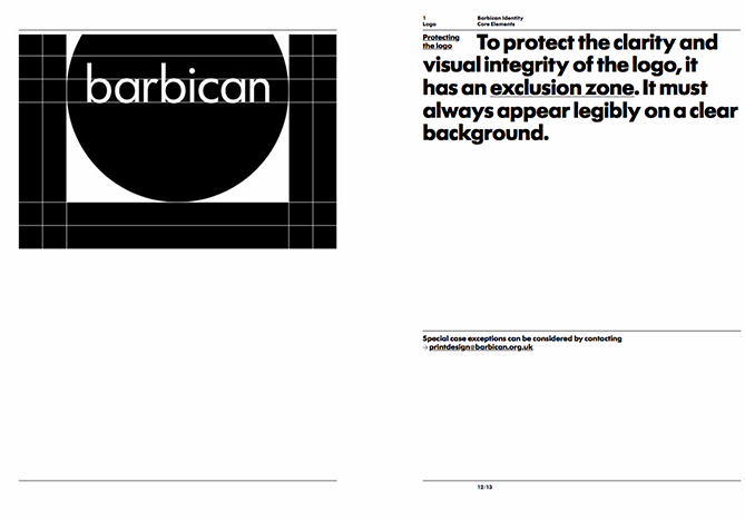 Brand style guide for Barbican with black and white logo in circle and gridlines