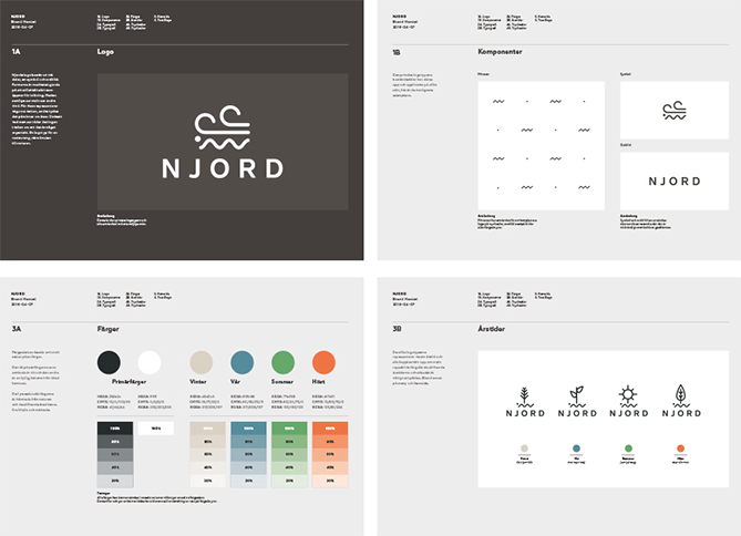 Brand style guide for NJORD with black and white logo and color palette