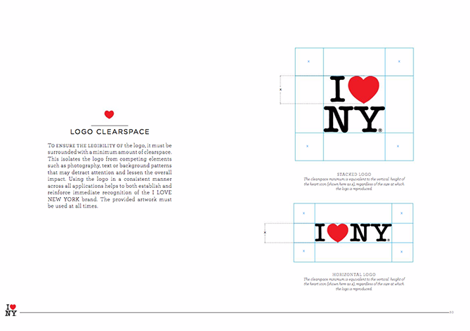 Brand style guide for I Love New York with logo and gridlines