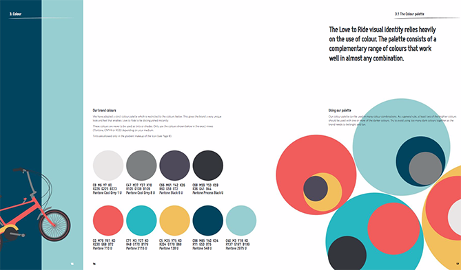 Color palette for Love to Ride with nine cool colors in circular icons