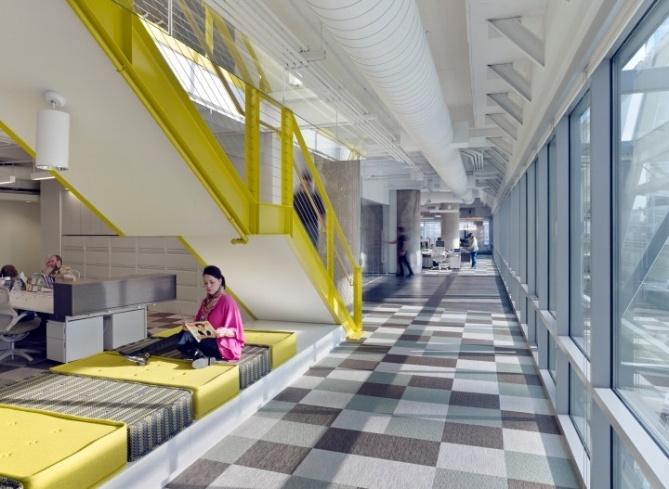 Delightful Pops Of Unexpected Color On Staircases And Furniture Contribute To The  Officeu0027s Aura Of  Amazing Ideas