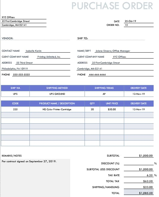 Example of a contract purchase order