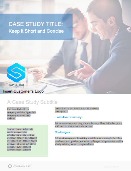 Sample case study format shown in a blue case study template