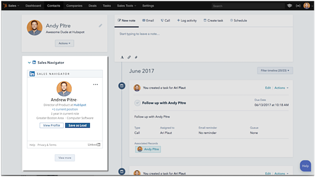 hubspot crm integration with linkedin sales navigator